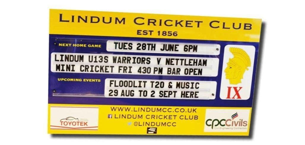 lindum cricket club fixture baord using americamn style changeaable letters