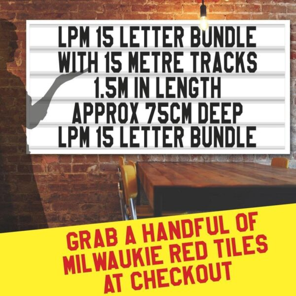 letterboard Sign kits with letters | 2 set of LPM 15 with 15 Metres of tracking. Our pre-packed bundles make buying letters and tracks even simpler