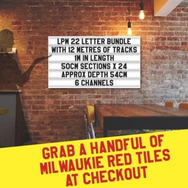letterboard Sign kits with letters | 2 set of LPM 22 with 10 Metres of tracking. Our pre-packed bundles make buying letters and tracks even simpler.