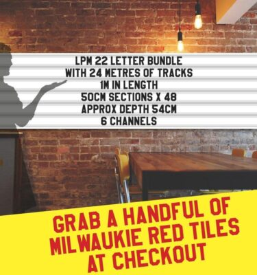 letterboard Sign kits with letters   3 set of LPM 22 with 24 Metres of tracking. Our pre-packed bundles make buying letters and tracks even simpler.