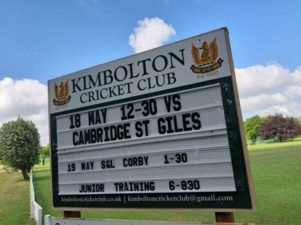 Cricket Club fixture board using changeable plastic letters you can easily change