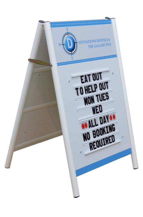 free standing A frame or pavement sanwich board with changeable letters in tracks
