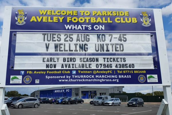 changeable fixtures board for Aveley Football Club